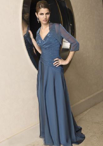 V-neck slate blue asymmetrical chiffon pleated sequins embroidery ...