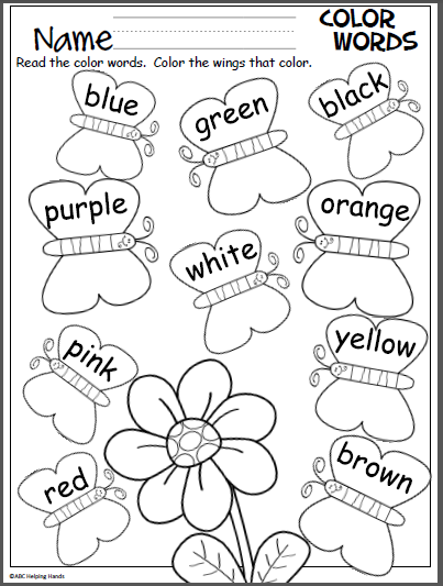 Butterfly Color Words Activity Madebyteachers Color Word Activities Preschool Learning Preschool Colors