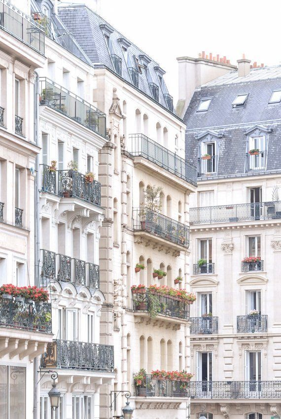 Paris Architecture Photograph  Window Boxes and Lamp Posts | Etsy