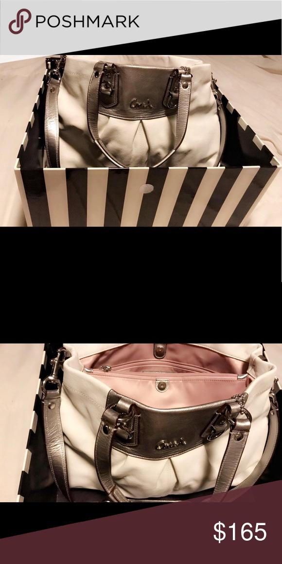 Spotted while shopping on Poshmark  White   Silver Coach handbag shoulder  bag .!  poshmark  fashion  shopping  style  Coach  Handbags 88d9cb6d7e