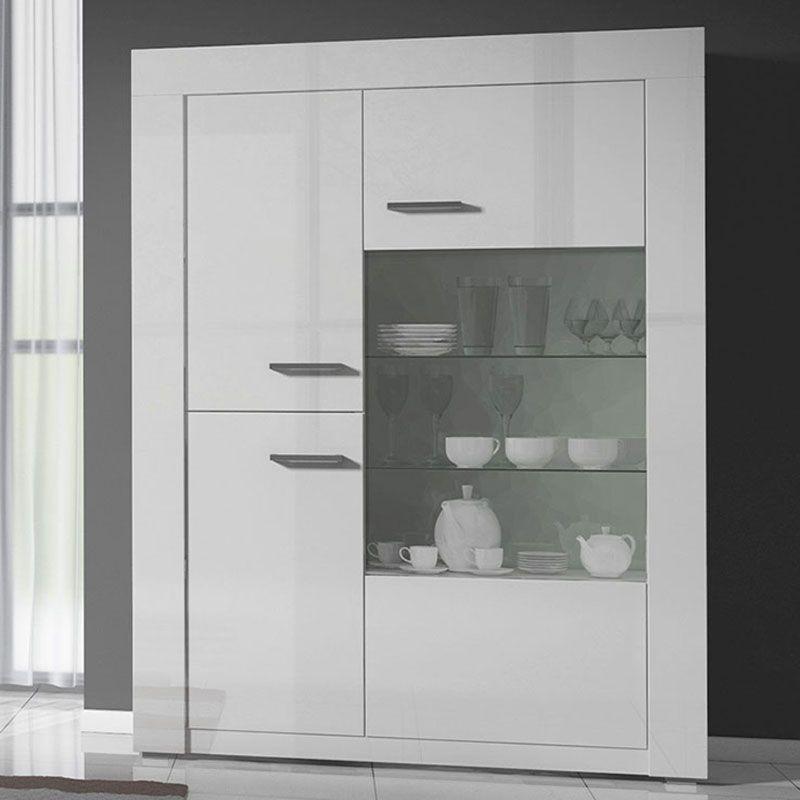 Vaisselier Vitrine En Verre: Meuble Vaisselier Blanc Laqué Design BERIL