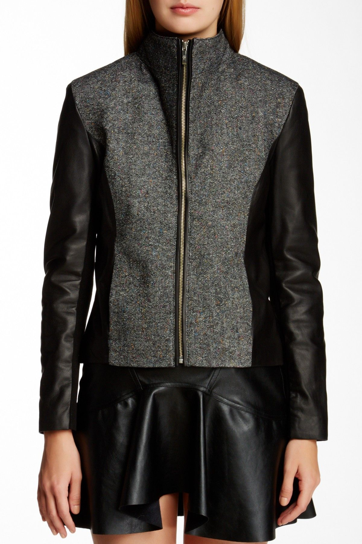 Cole Haan - Genuine Leather & Wool Blend Jacket is now 50% off. Free Shipping on orders over $100.