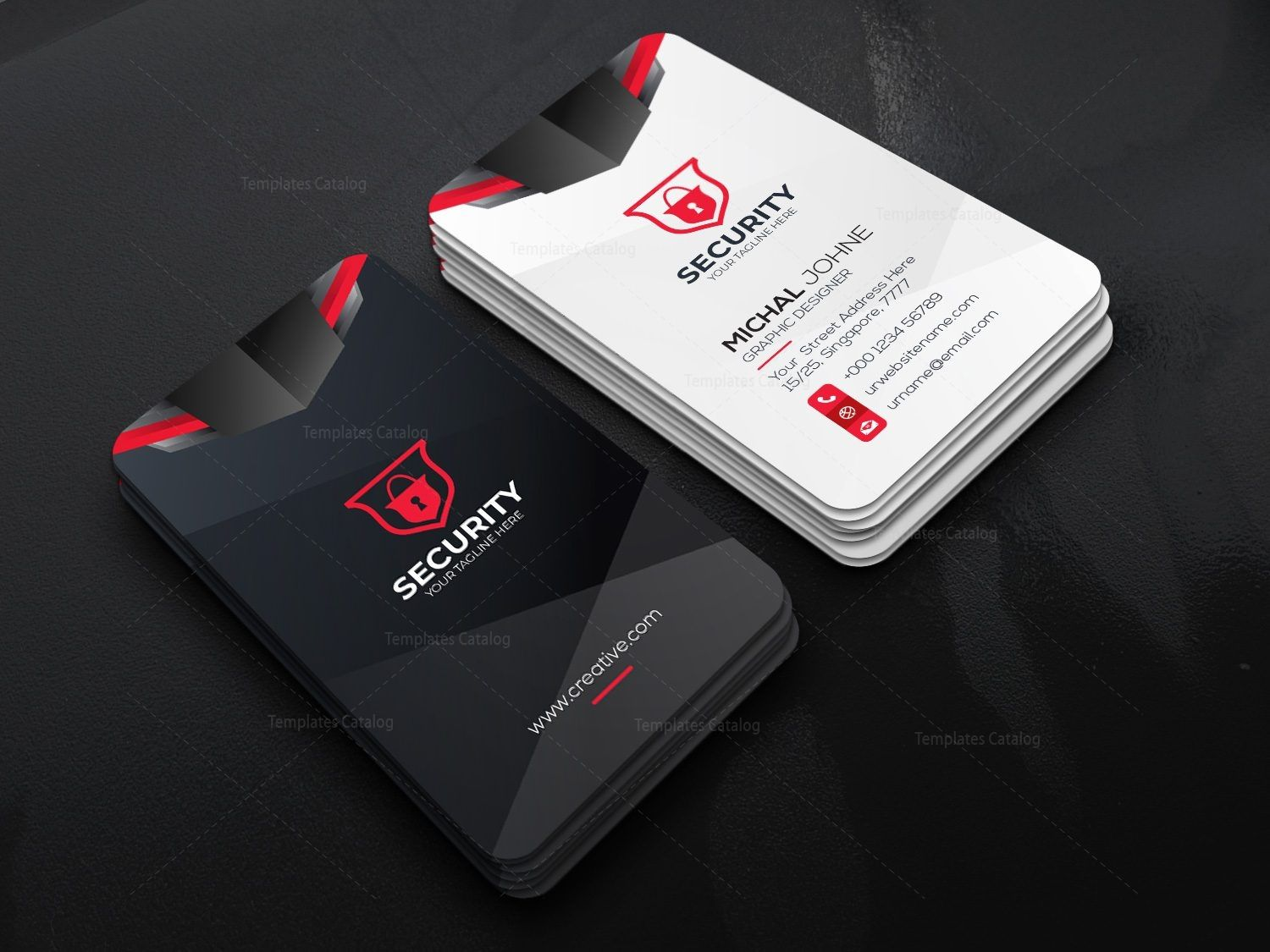 Security Company Vertical Business Card Design Template 001791 Template Catalog Vertical Business Cards Vertical Business Card Design Business Card Template Design