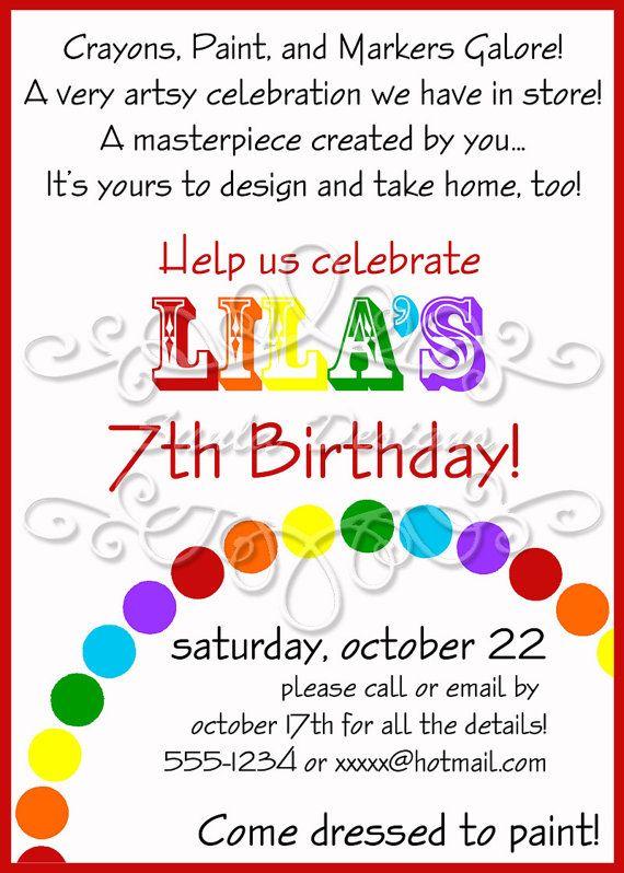 Rainbow Art Birthday Party Or Playdate Invitation By SunlaDesigns 800