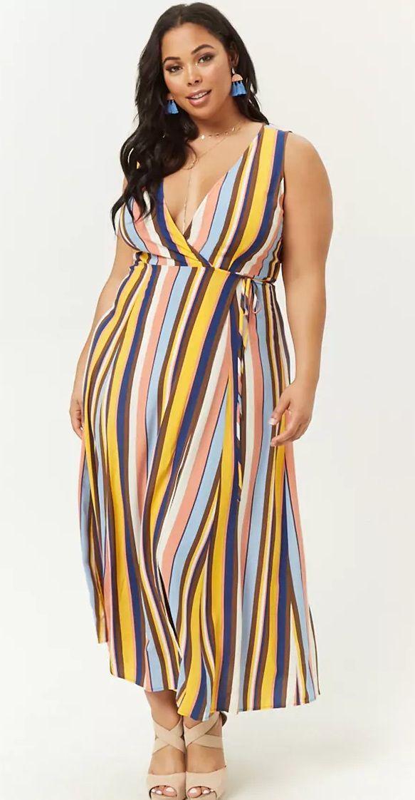 f4626421 Plus Size Striped Wrap Dress   Plus Size Fashion   Plus size holiday ...