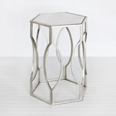 Morocco Hex Side Table   Silver Leafed   Clayton Gray Home