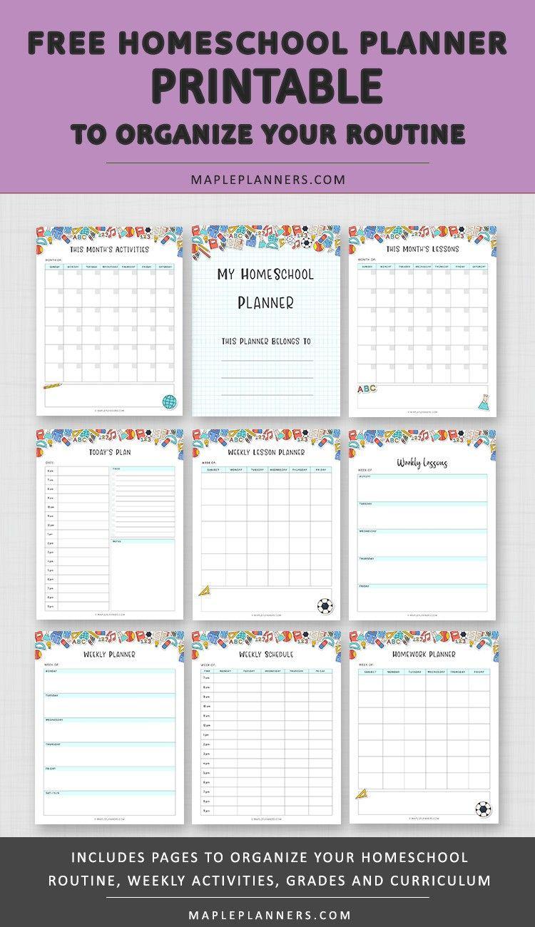 Free Homeschool Planner Printable Printable planner