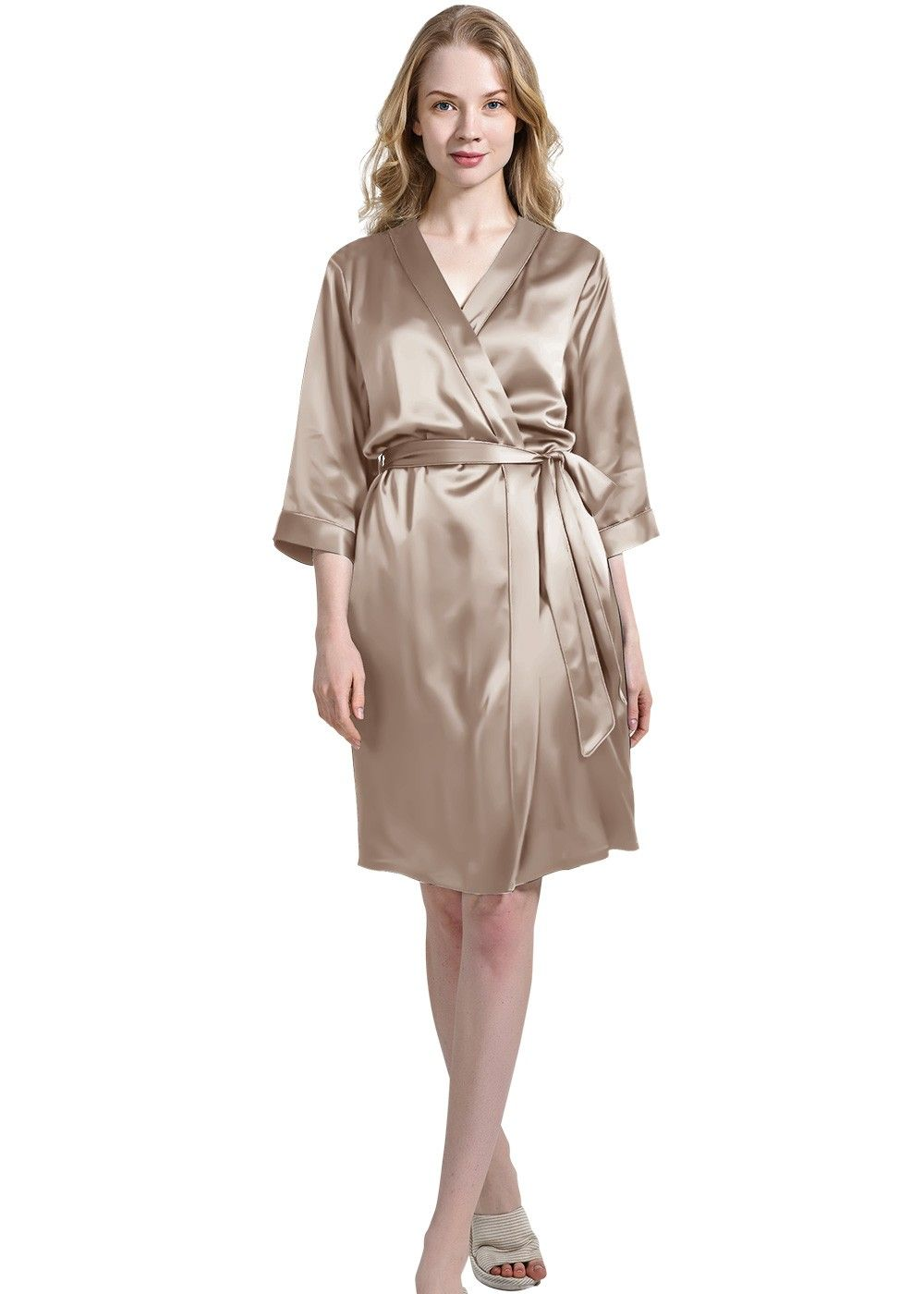 Womens 100% Silk Robe Skin-Care Dressing Gown - OOSilk d054a4faf5