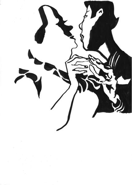 Pareja de tango - India ink