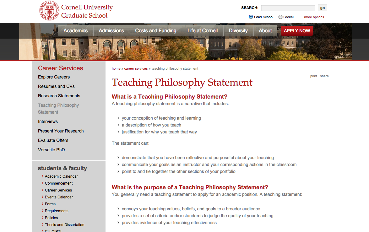 What Is A Teaching Philosophy Statement Purpose And Components Https Www Gradschool Cornell Edu Teaching Philosophy Statement Teaching Philosophy Teaching