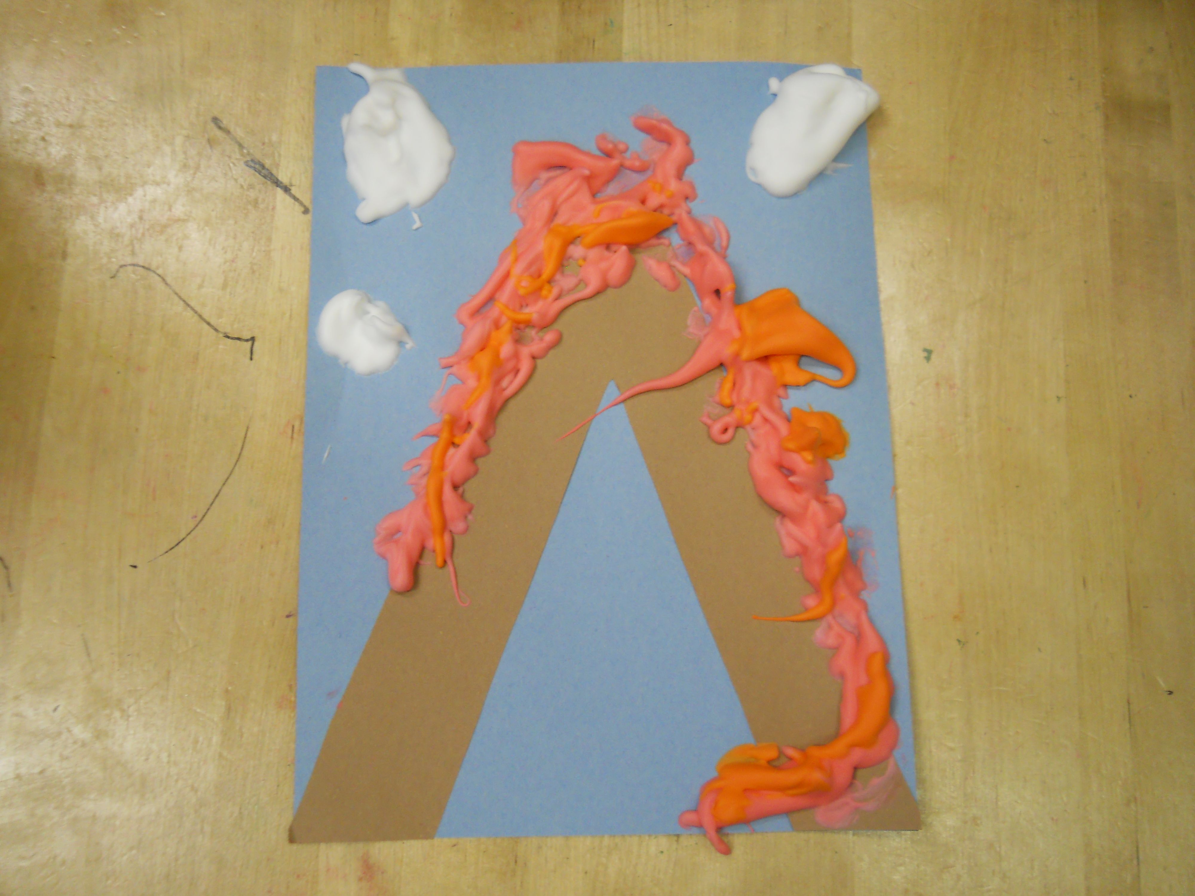 V is for Volcano Puff Paint: 1 part glue, 1 part shaving cream and ...