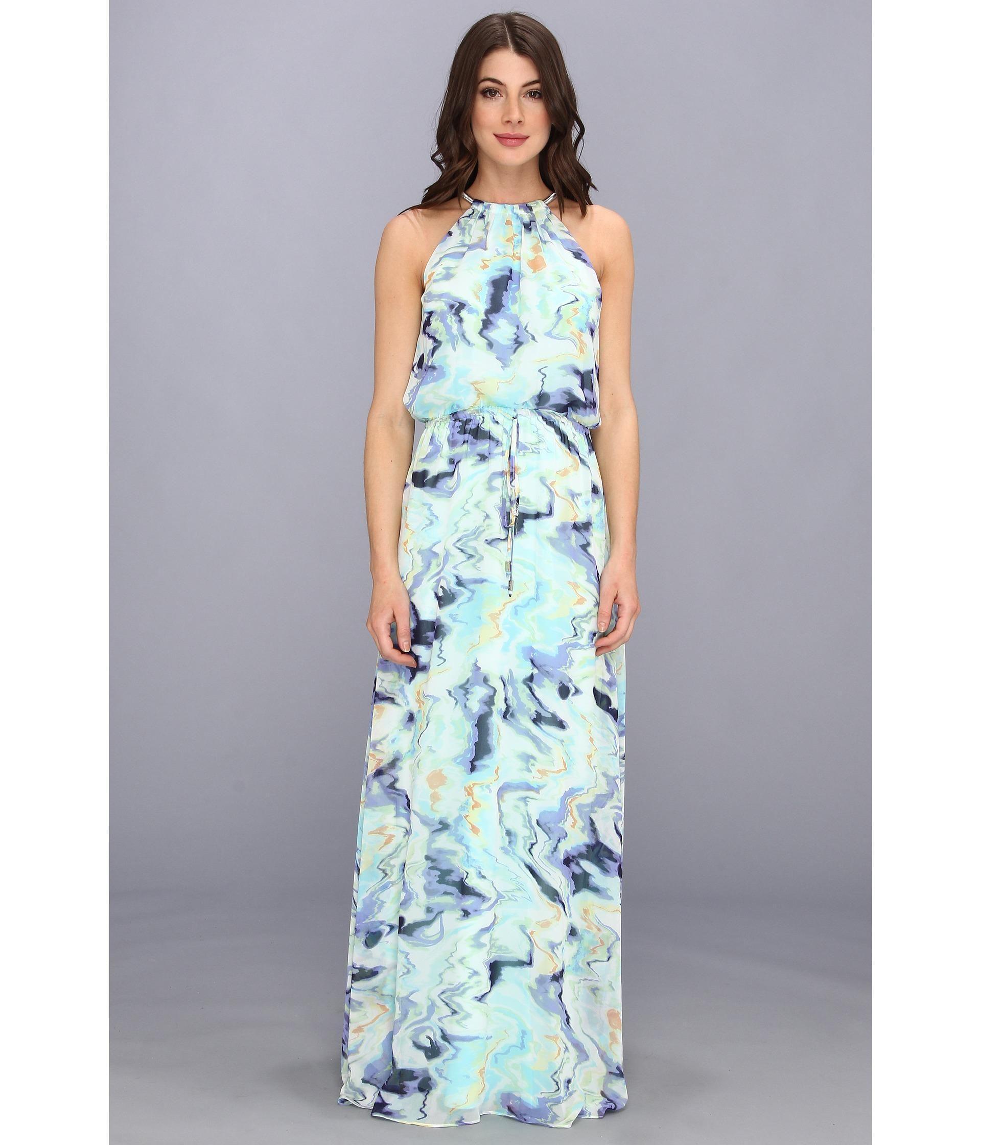 Vince camuto chevron-print blouson maxi dress