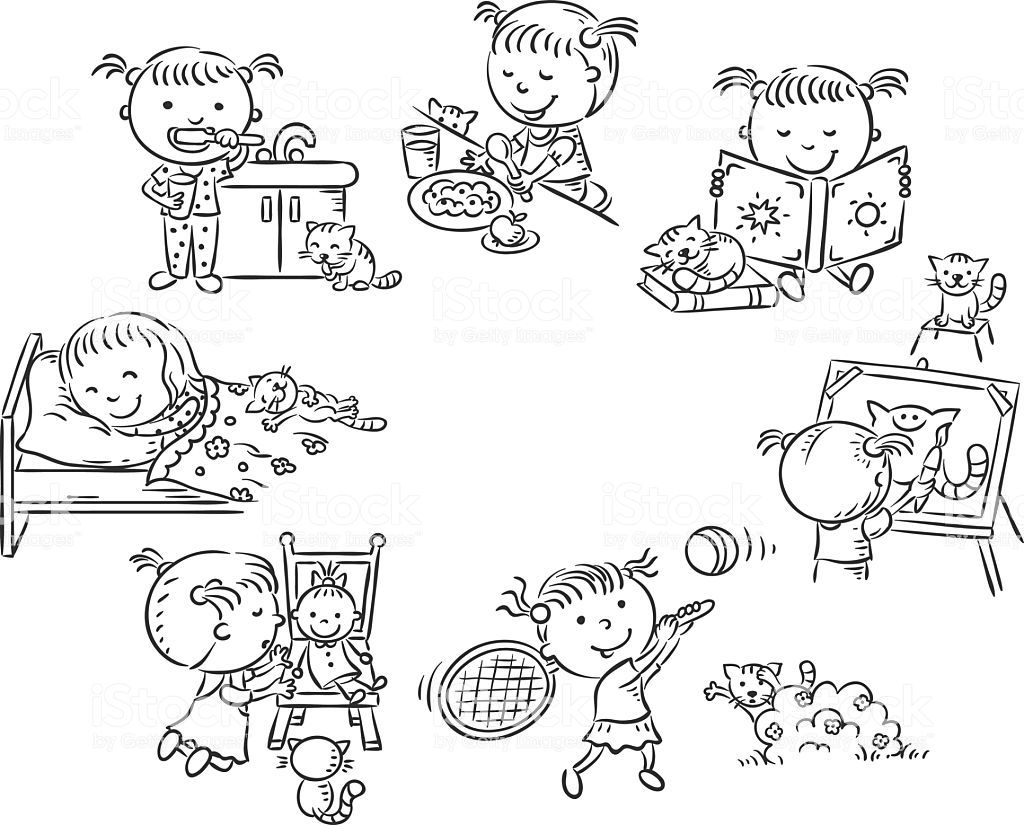 Little Girl S Daily Activities Black And White Outline Little Girl Drawing Drawing Activities Daily Activities