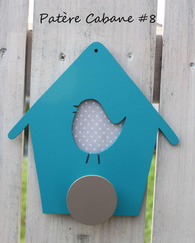 Patère Cabane à oiseaux #8 bleu turquoise et taupe : Chambre d ...