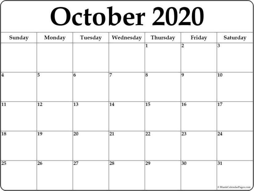 50 Free Printable October 2020 Calendars With Holidays Onedesblog Printable Blank Calendar Calendar Printables Monthly Calendar Printable