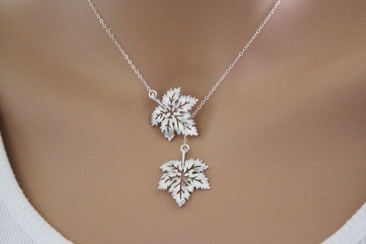 Photo of Maple Leaf Lariat, Lariat Necklace, Gold Maple Leaf, Maple L…