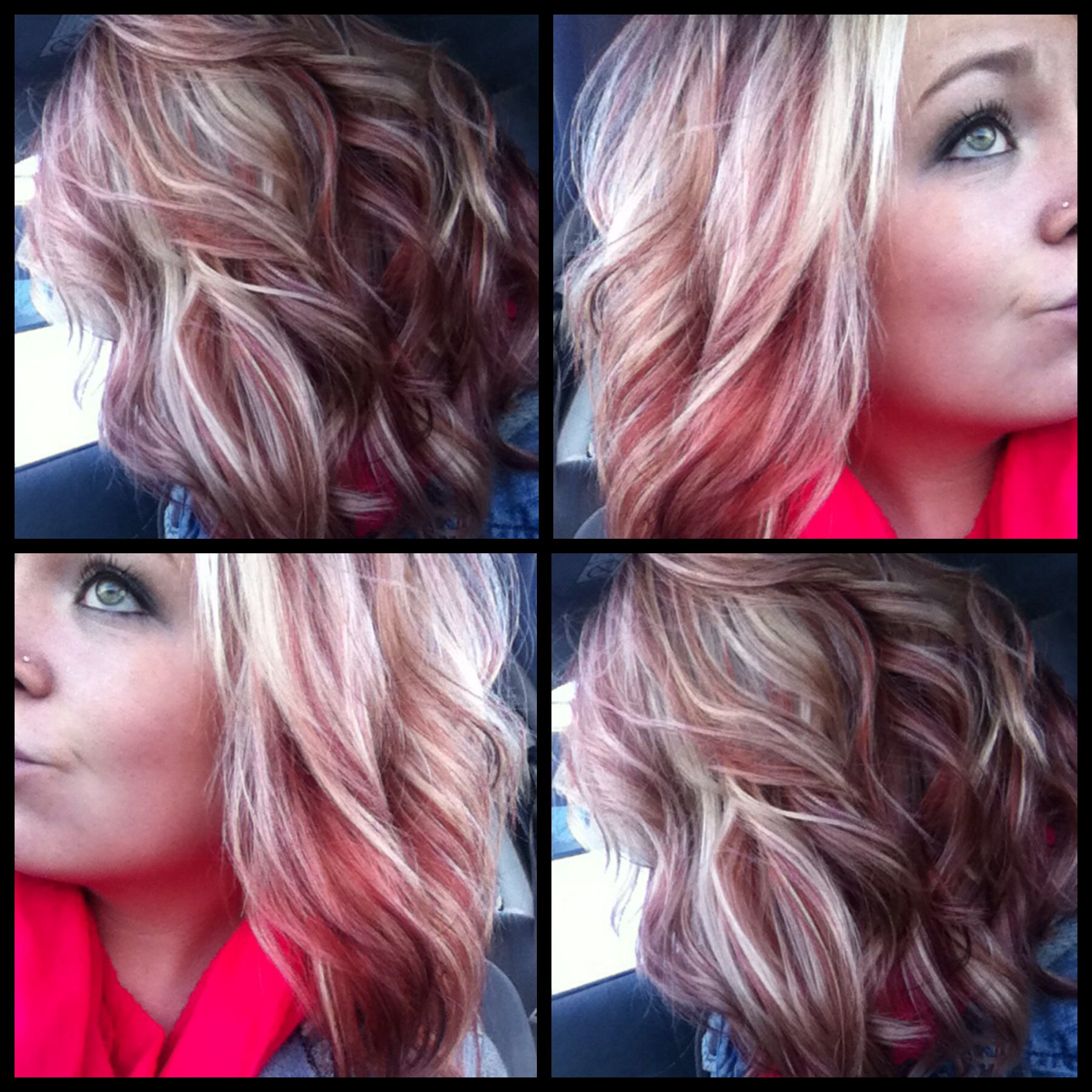 New hair ashy blonde with coppery violet red i am in complete love