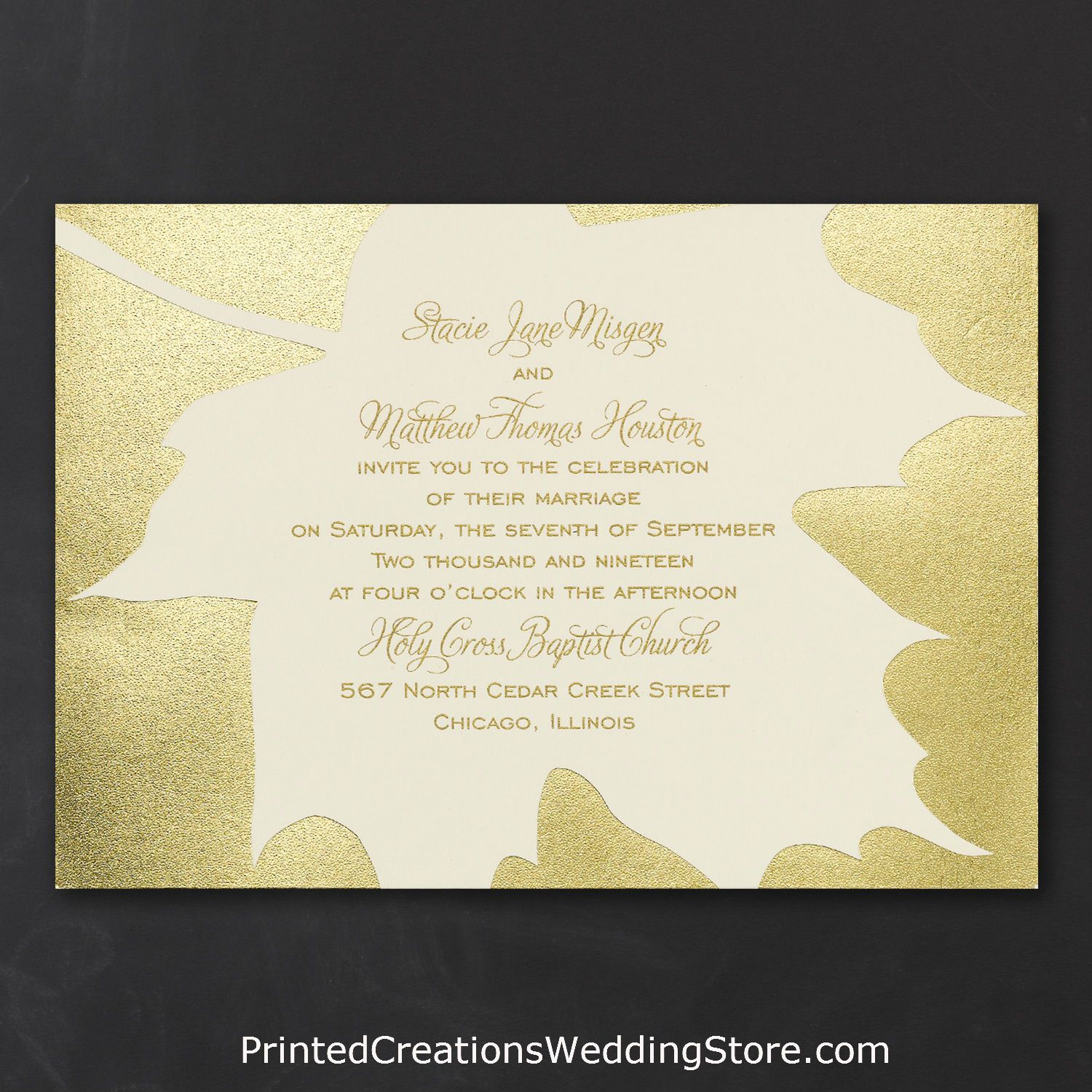 Having a fall or autumn wedding? This Golden Leaves Invitation sets ...