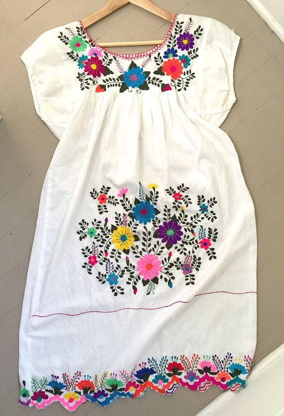 Embroidered Mexican Dress Vintage By Walnutandbailey On Etsy