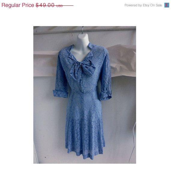 Vintage 40s Dress Size 40 Chest Shirtwaist Baby Blue Sheer Floral Lace 50s j. $44.10, via Etsy.