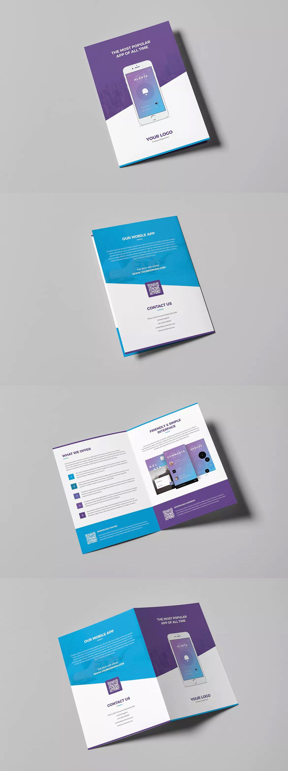 Mobile Apps Bi Fold Brochure Template Psd Brochure Templates