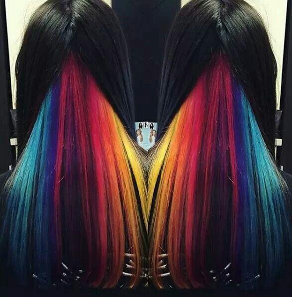 How You Can Wear Rainbow Hair To Work - The Singapore ...  |Rainbow Hair Underneath Light