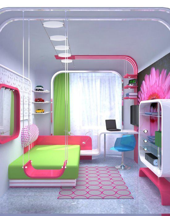 Really Cool Girl Rooms What A Great Girls Bedroom! Love The Swing, The Neon Colors And The Place  Of Escape And Created. #diy #bedroom #girls