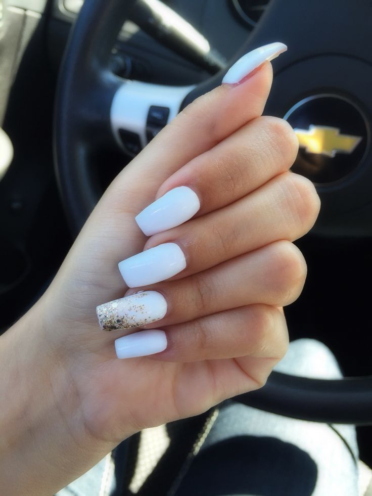 Untitled White Nails With Gold White Acrylic Nails Gold Nails