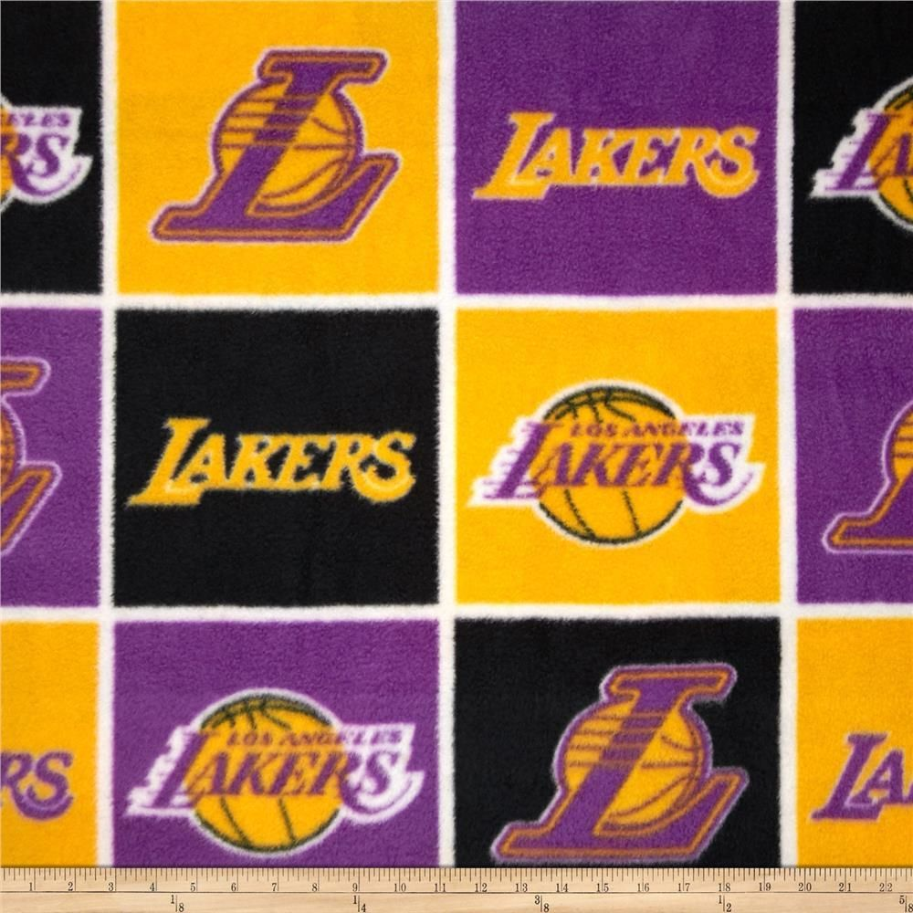 Los Angeles Lakers Blocks Fleece Fabric Lakers Fleece Fabric Los Angeles Lakers