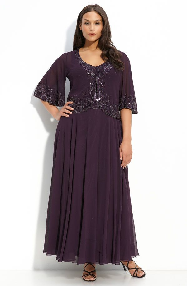 Beaded Gown & Sheer Jacket (Plus) | Robes | Pinterest | Vestidos ...