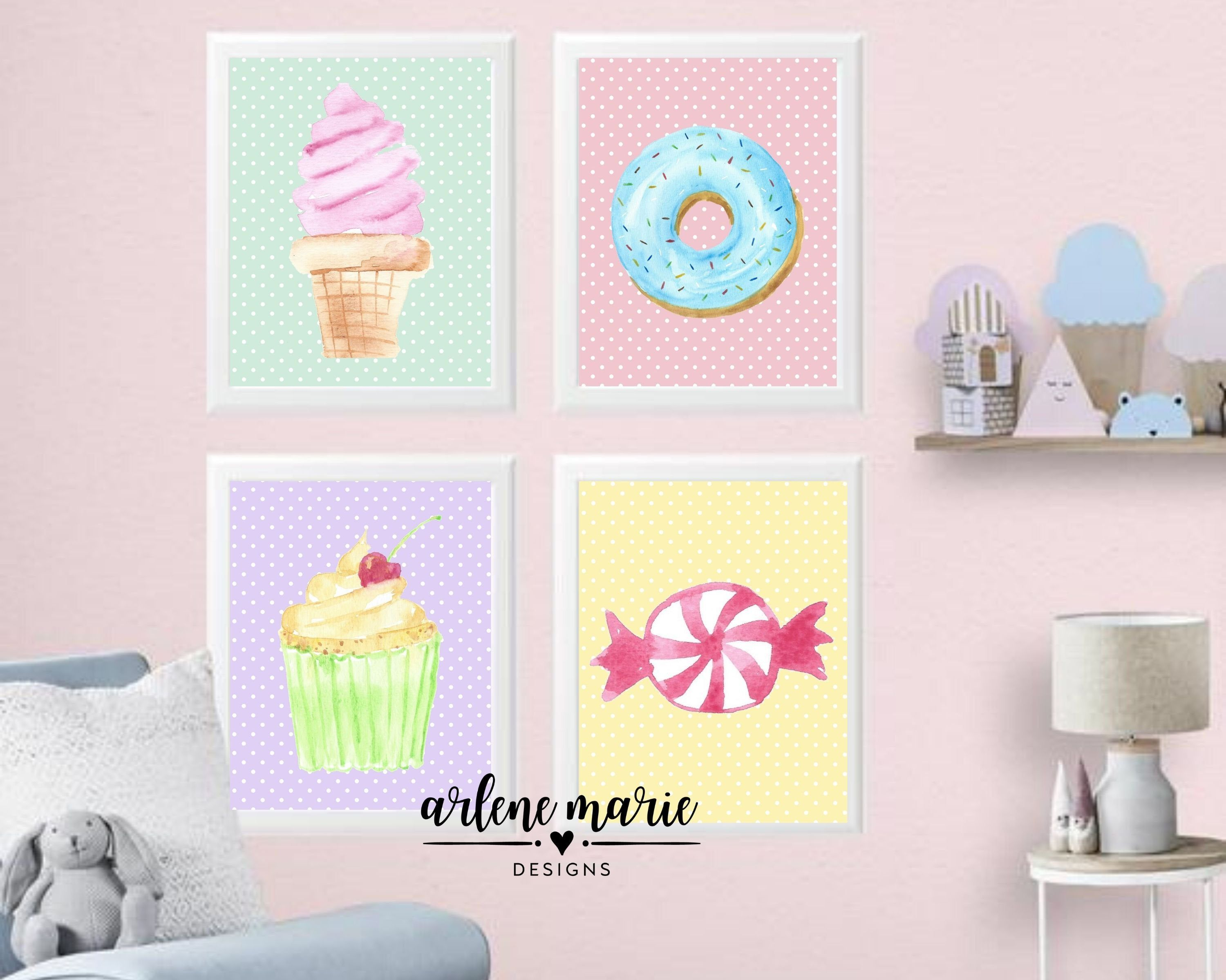 Sweet Treats Printable Wall Art Candy Wall Art Ice Cream Etsy In 2021 Kids Room Wall Art Candy Themed Bedroom Cupcake Room Decor Cupcake decor for bedroom