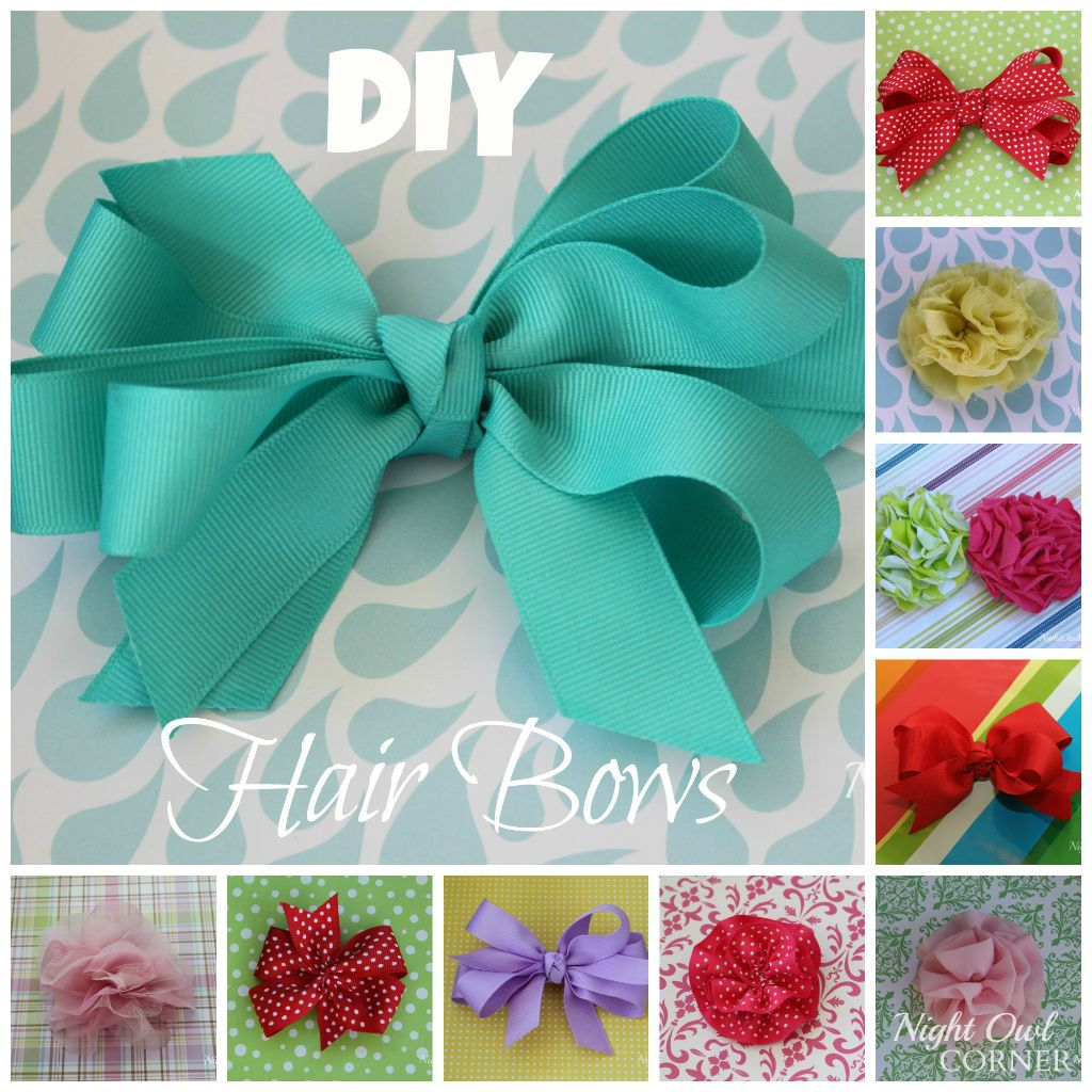 7 Easy Diy Hair Bow Tutorials Night Owl Corner Diy Hair Bows Girls Hair Bows Diy Homemade Hair Bows