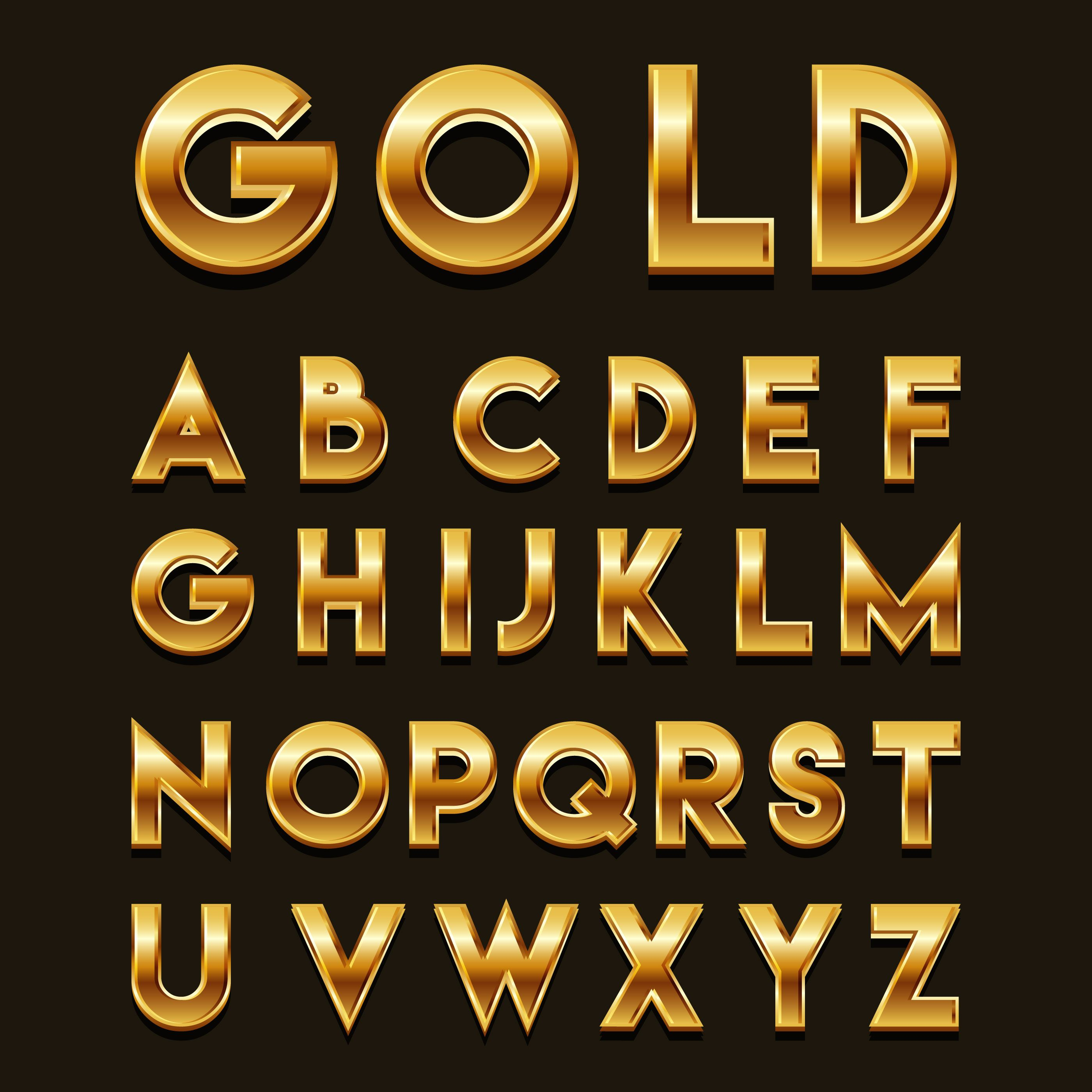 Golden 3D Fonts Vector (With images) Origami font, Text