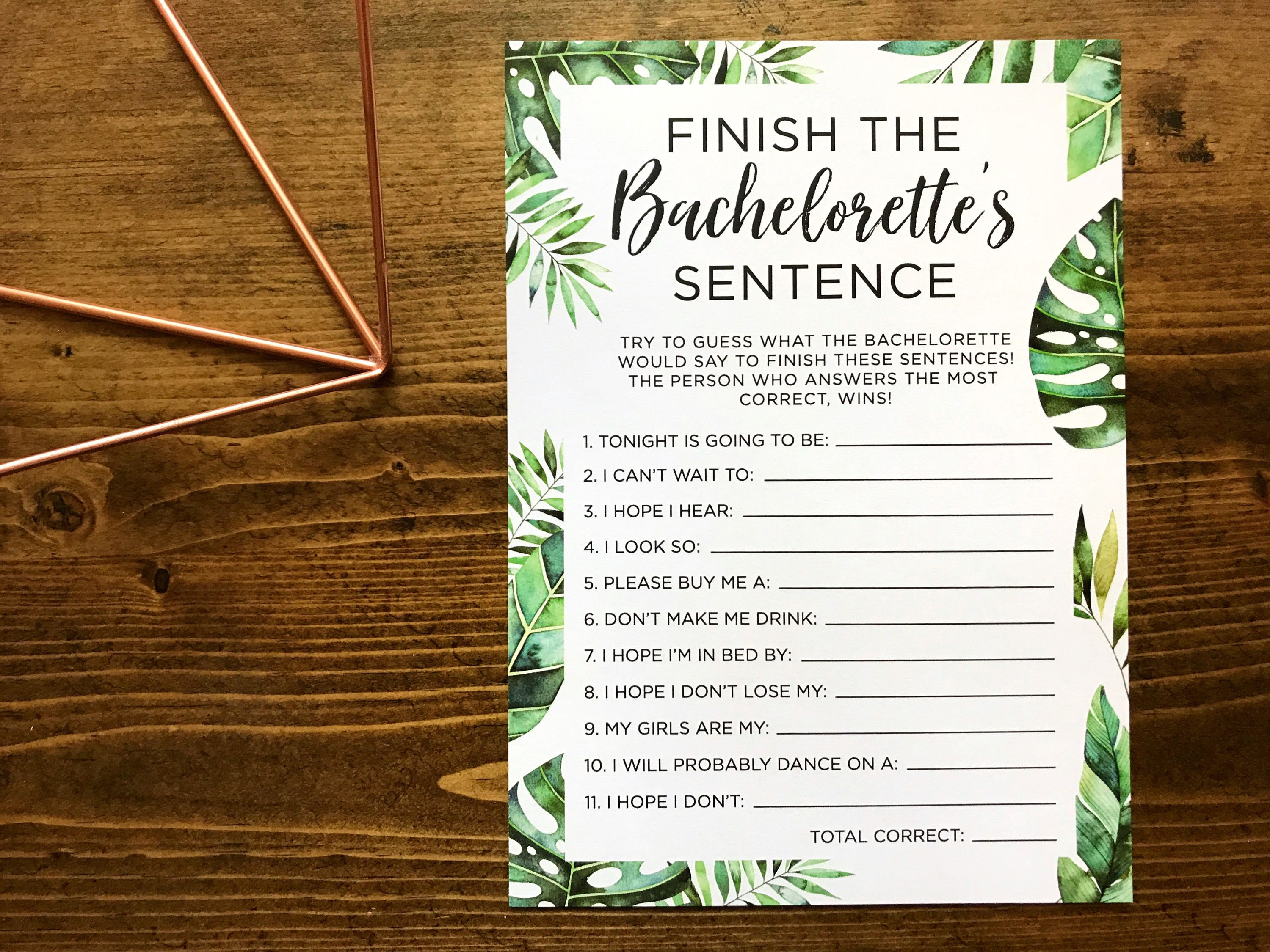 Tropical Bachelorette Party Game Finish The
