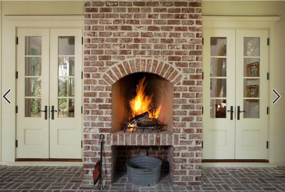 Raised Hearth Brick Porch Fireplace Arched Storage Under