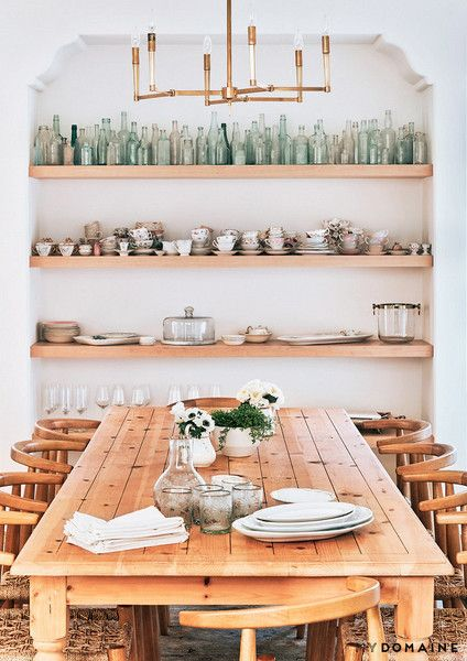 Concept only: open shelving directly opposite dining table