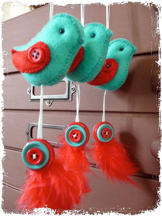 #DIY Stuffed Felt Bird Ornaments
