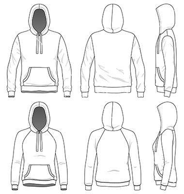 Front Back And Side Views Of Blank Hoodie Vector Image On Vectorstock Hoodie Vector Hoodie Illustration Fashion Design Drawings