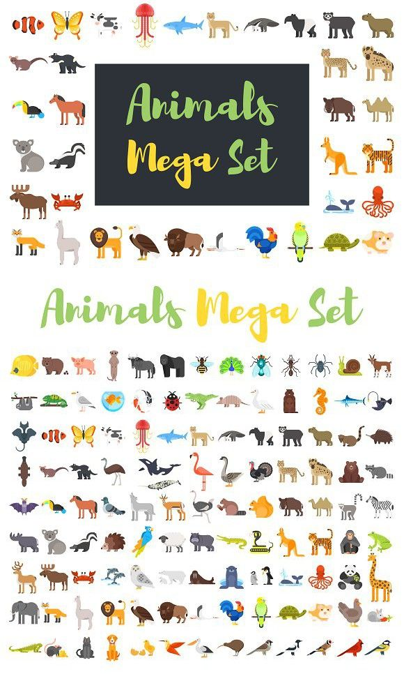 Mega Set Of Flat Animals Animals Colorful Animals Settings