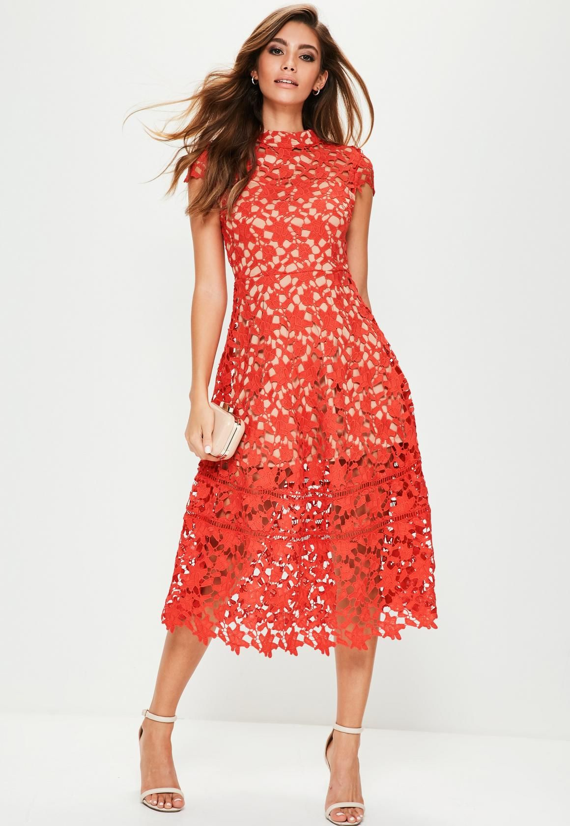 Missguided - Red Short Sleeve Lace Midi Skater Dress  d01e31339