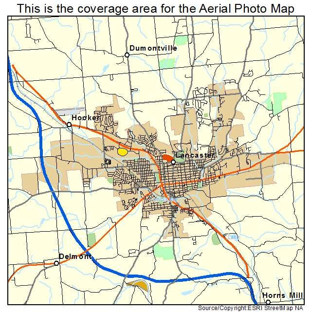 Lancaster Oh Ohio Aerial Photography Map Lancaster Ohio And