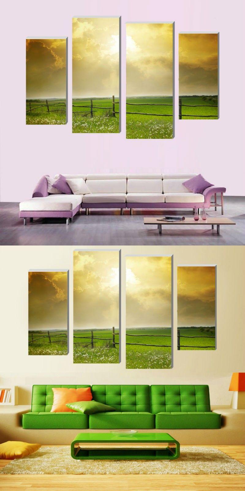 4 Pcs (No Frame) vast grassland Spring Wall Art Picture Modern Home ...