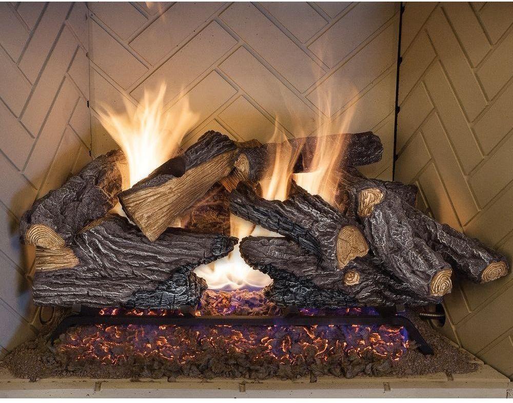 split oak vented natural gas log set 24 in fireplace glowing rh pinterest com au