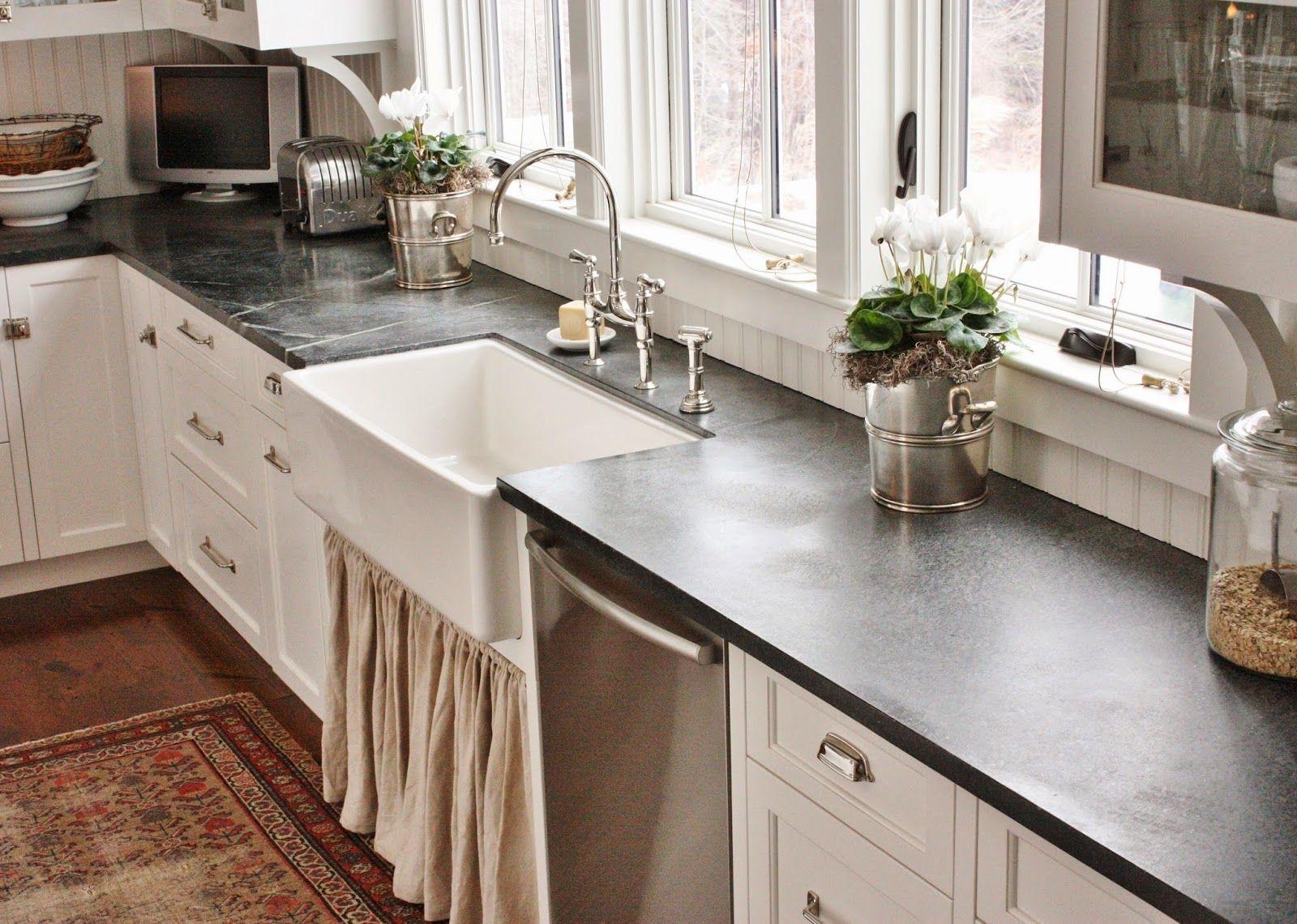 White Kitchen Soapstone Countertops