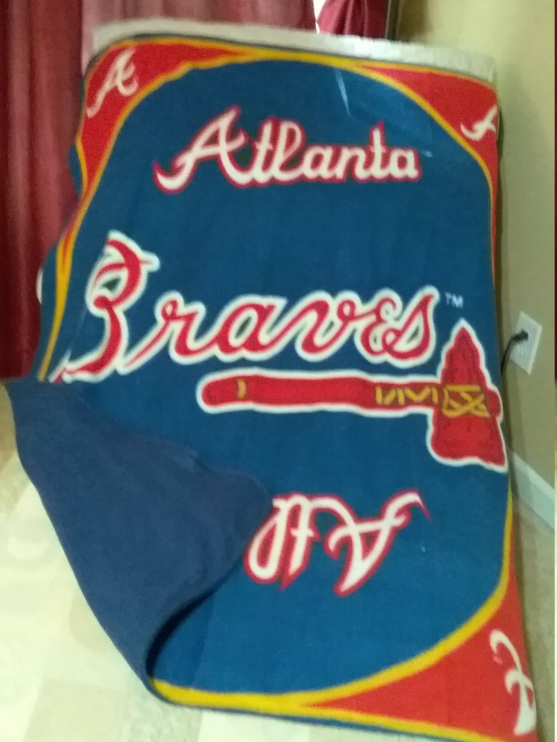 Atlanta Braves Baseball Fleece Blanket Etsy In 2020 Atlanta Braves Baseball Atlanta Braves Braves Baseball