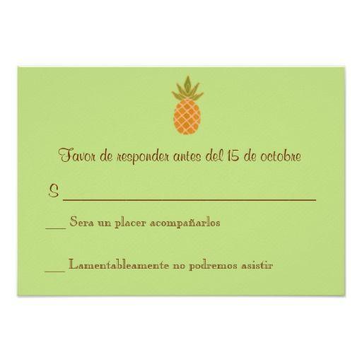 Wedding Invitations Spanish: Bilingual Pineapple Wedding RSVP 2-sided