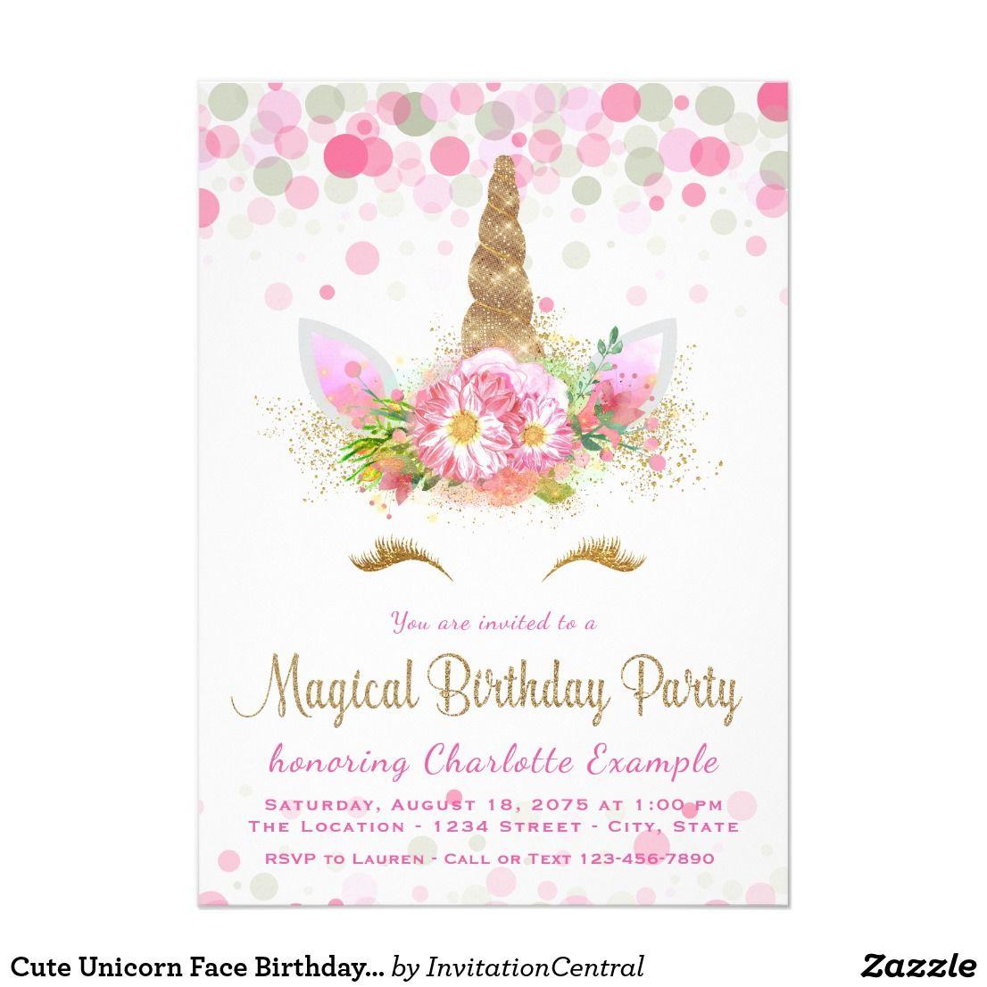 Cute Unicorn Face Birthday Party Invitations | Kids Birthday Party ...