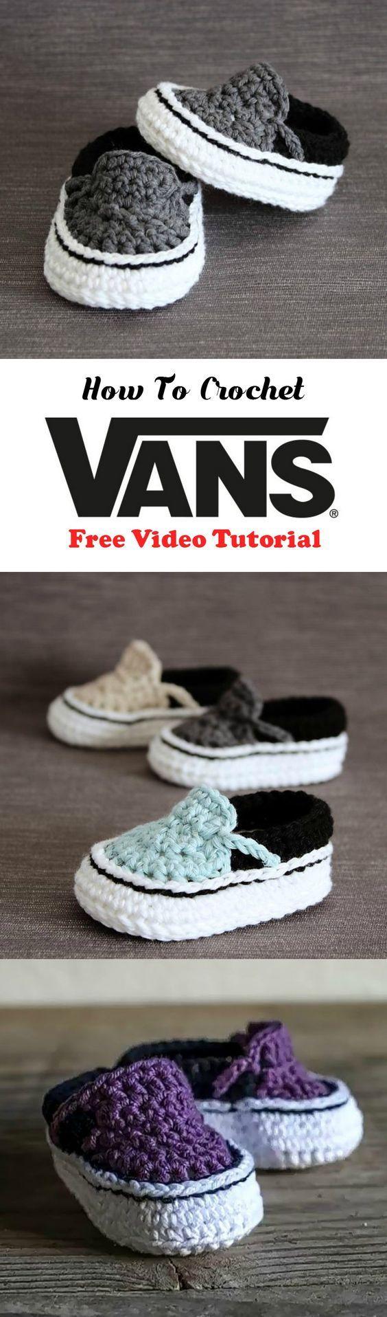 How to Crochet Vans shoes for children. #vans #crochet #yarn