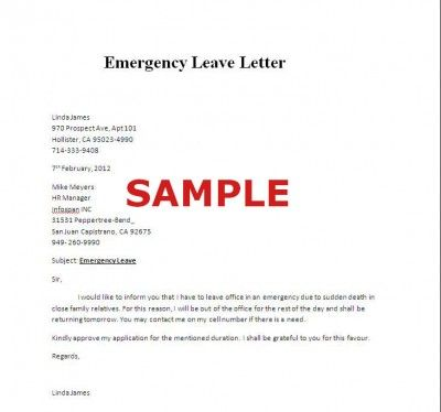 Sample of Emergency Leave Letter Careers \ Jobs Pinterest - how to write an leave application