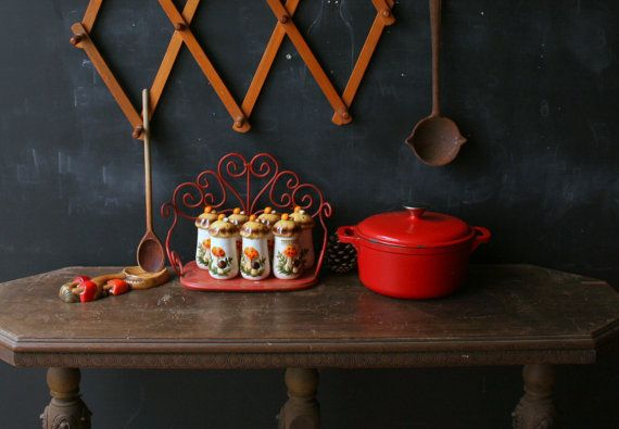 7 vasetti vintage Spice impostare motivo fungo di nowvintage